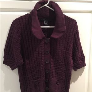Marc Jacobs Purple Knit Short Sleeved Sweater Sz L